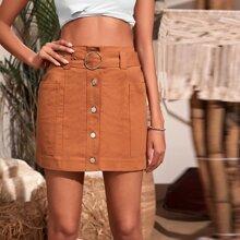 Button Up Pocket Side Belted Skirt