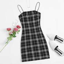 Slip Kleid mit Karo Muster