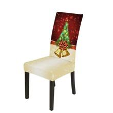 Dehnbarer Stuhlbezug mit Weihnachsbaum Muster