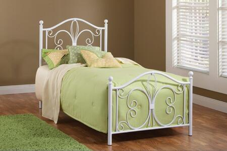Ruby Collection 1687BTW Twin Size Headboard and Footboard Set with Decorative Scrollwork  Delicate Round Finials and Open-Frame Panel Design in