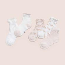 5 Paare Kleinkind Socken mit Bluemchen Muster