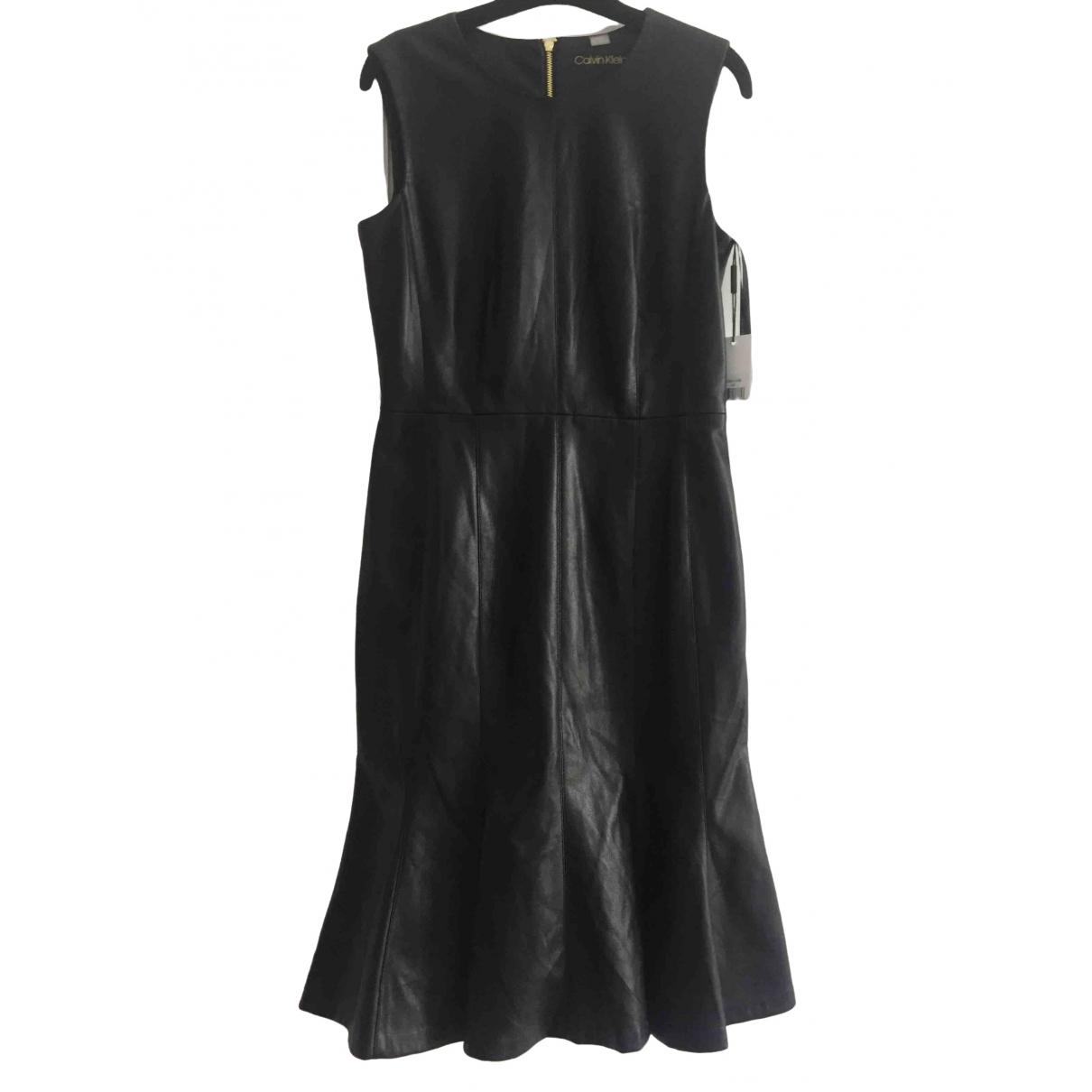 Calvin Klein \N Kleid in  Schwarz Leder