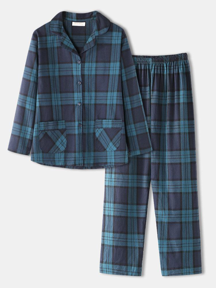 Women Cotton Classical Plaid Print Button Up Double Pockets Loose Pants Home Pajamas Long Set