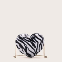 Fluffy Heart Shaped Chain Bag