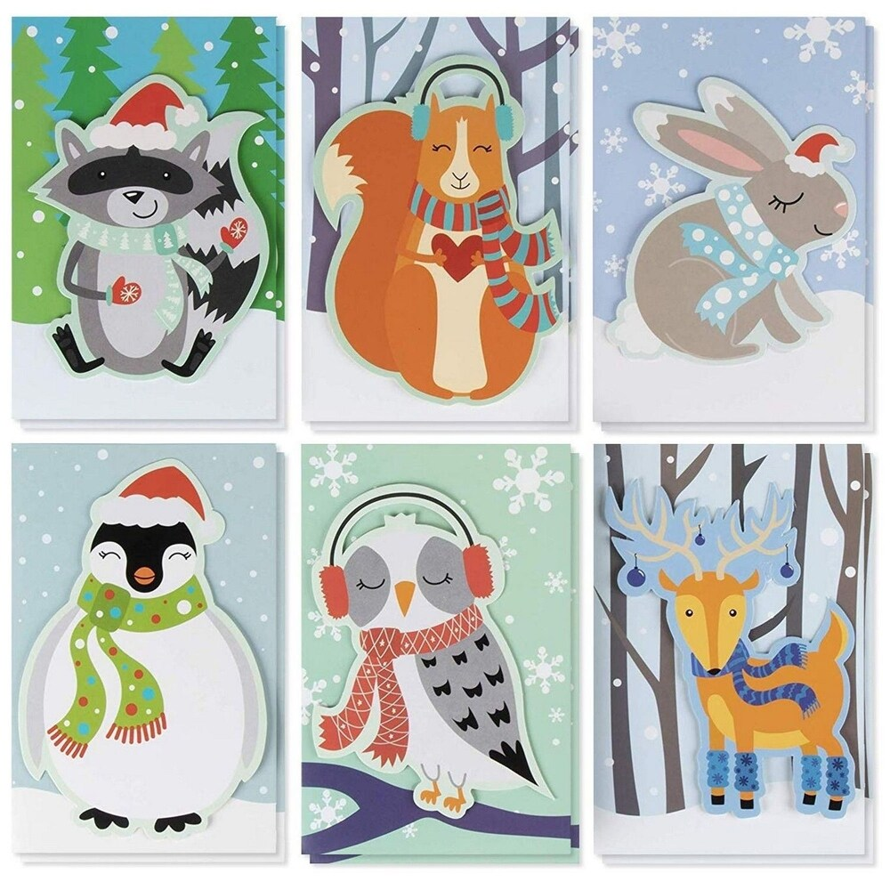 24-Pack Handmade Holiday Greeting Christmas Card - 6 Cute Animal Designs, 4