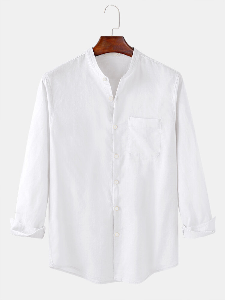 Mens Basic Solid Color Stand Collar Long Sleeve Shirts With Pocket