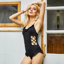 Cami Body mit Ausschnitt, Kreuzgurt vorn und Raffung