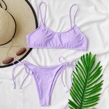 Polka Dot Tie Side Bikini Swimsuit