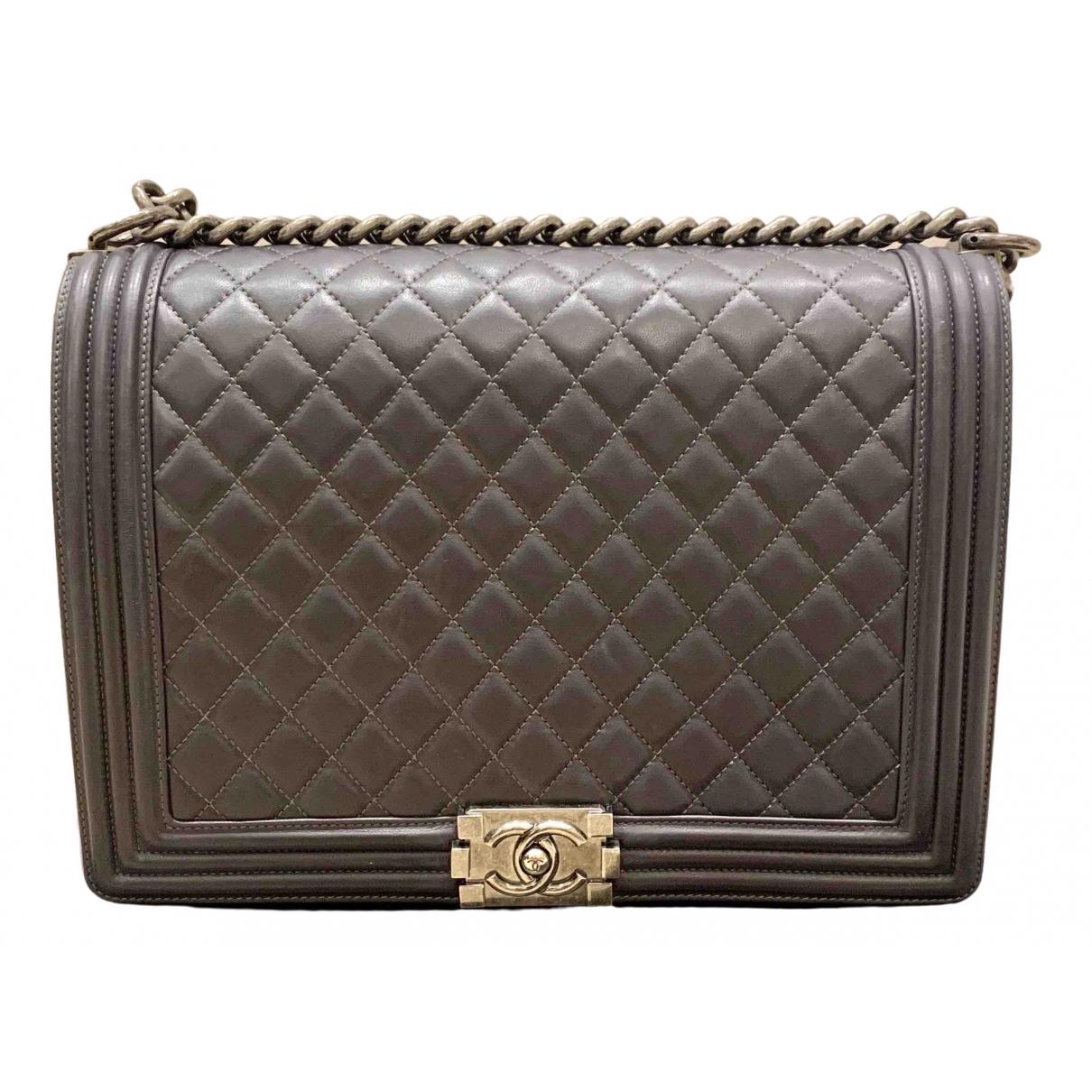 Chanel Boy Anthracite Leather handbag for Women \N