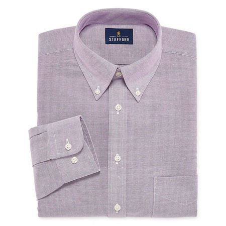 Stafford Mens Wrinkle Free Oxford Button Down Collar Big and Tall Dress Shirt, 16 36-37, Purple