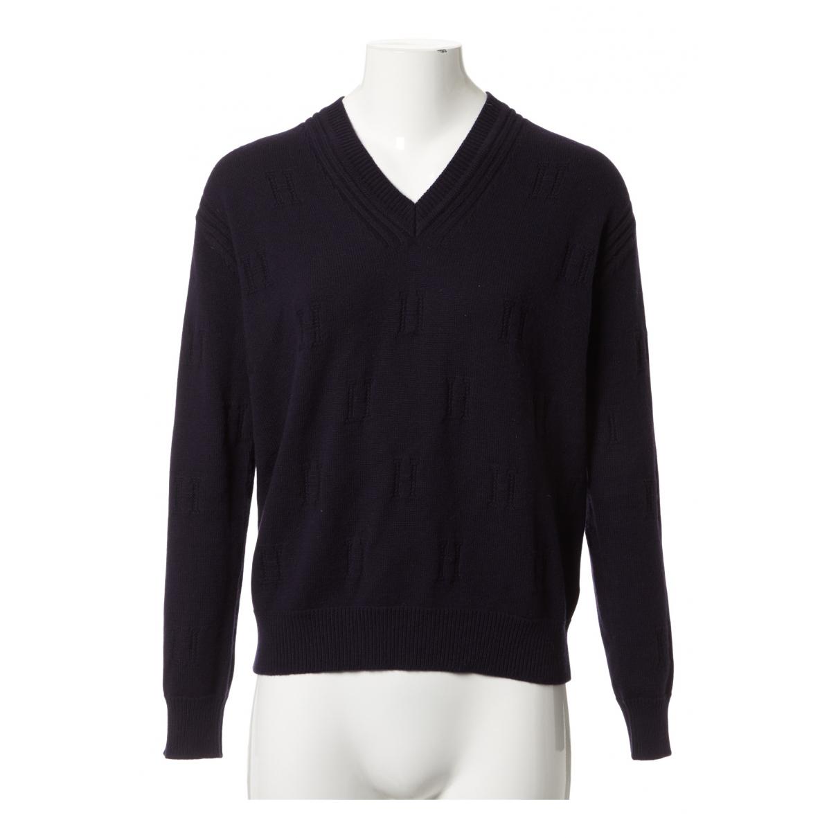 Hermes - Pull   pour femme en laine - marine