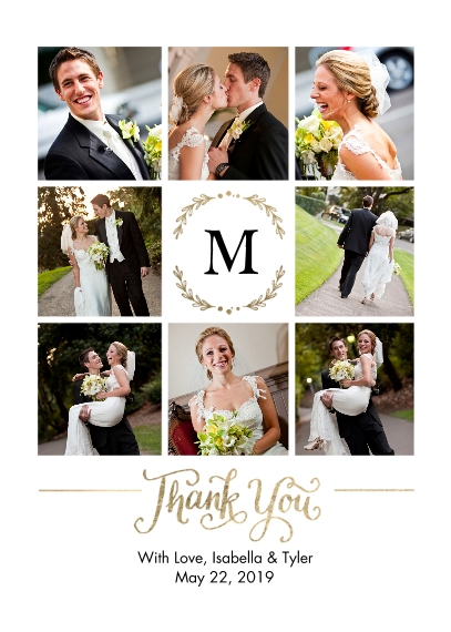 Wedding Thank You 5x7 Folded Cards, Standard Cardstock 85lb, Card & Stationery -Thank You Initial Memories