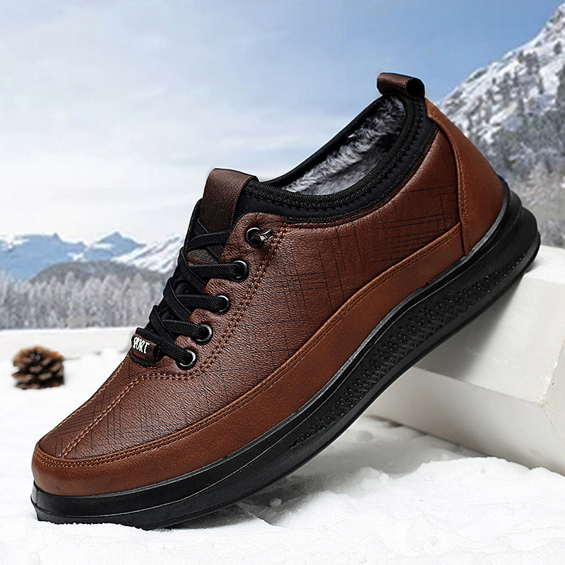 Men Old Peking Style Microfiber Fabric Lace Up Warm Lining Casual Shoes