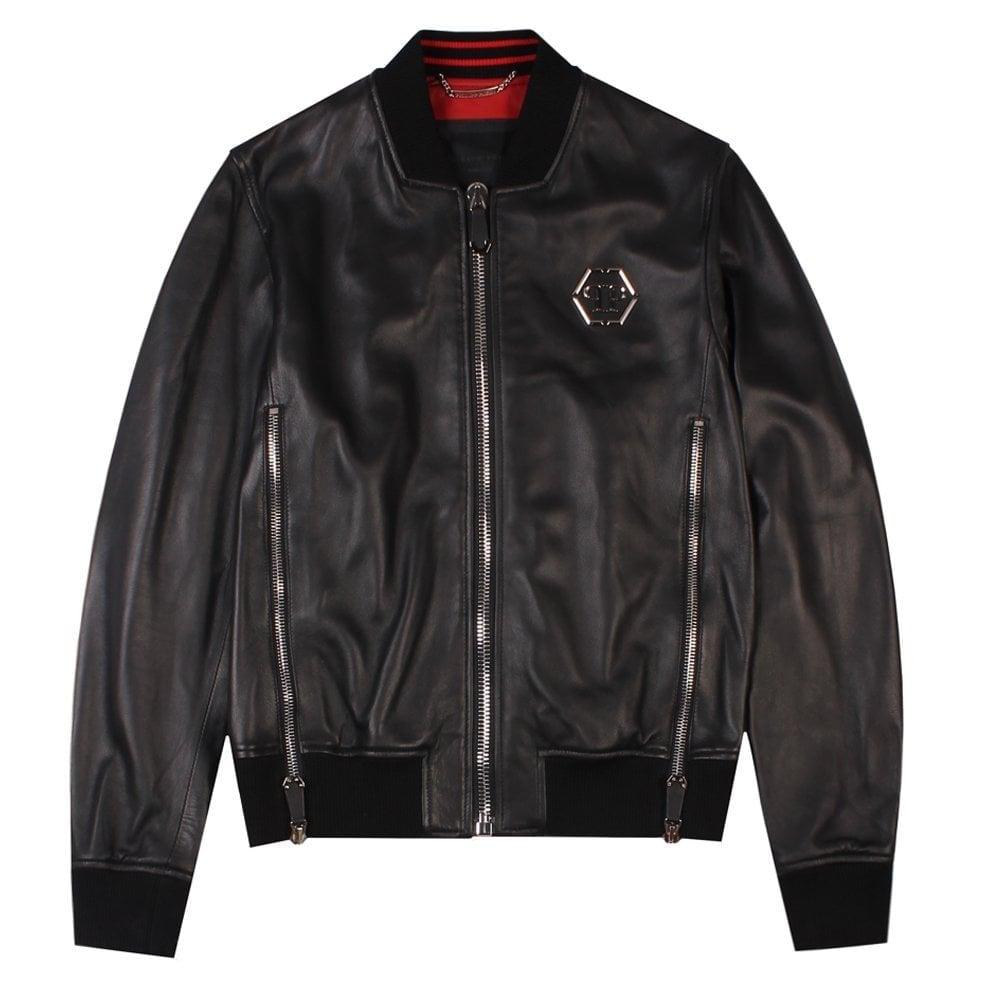 """Philipp Plein """"Serge"""" Leather Jacket Colour: BLACK, Size: EXTRA EXTRA LARGE"""