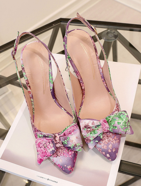 Milanoo Women's Evening Shoes Pointed High Heel Sandals Handmade Floral Print Stiletto Heel