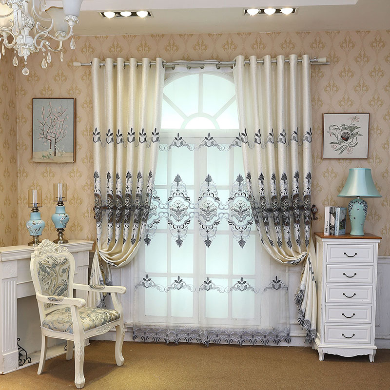 Decoration Artificial Embroidery Luxury Style Milk White Color Curtain