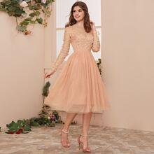 3D Applique Mesh Overlay Dress