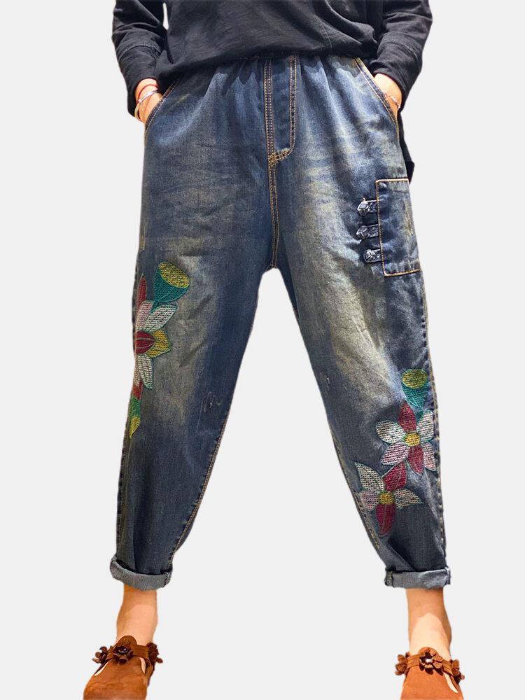 Vintage Embroidered Flower Elastic Waist Denim Pants With Pocket For Women