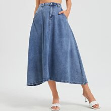 Asymmetrical Hem Denim Skirt