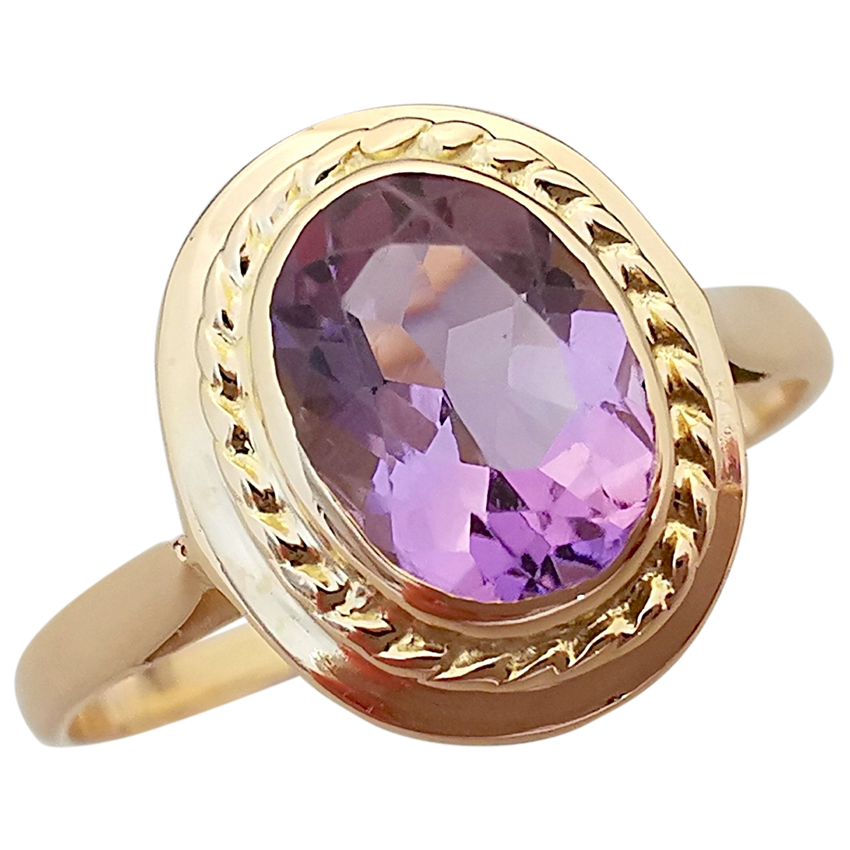 Non Signe / Unsigned Amethyste Ring in  Lila Gelbgold