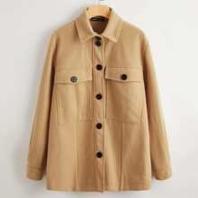 Button Front Pocket Patched Coat
