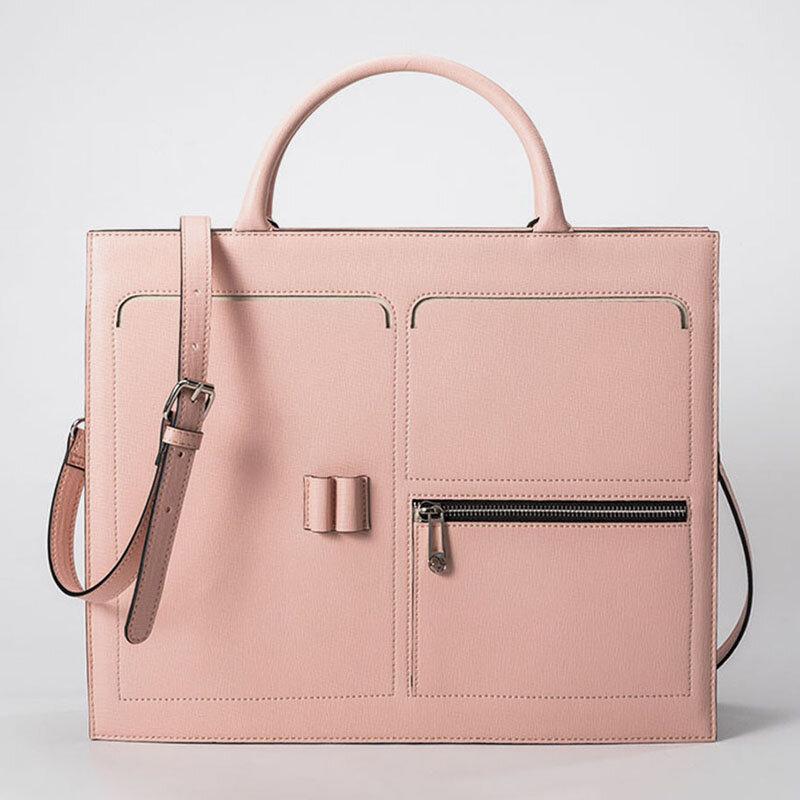 Women Multifunction Handbag Solid 13.3 Inch Laptop Briefcase Crossbody Bag