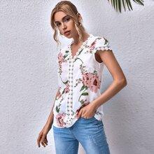 Blusas Encaje en contraste Floral Casual