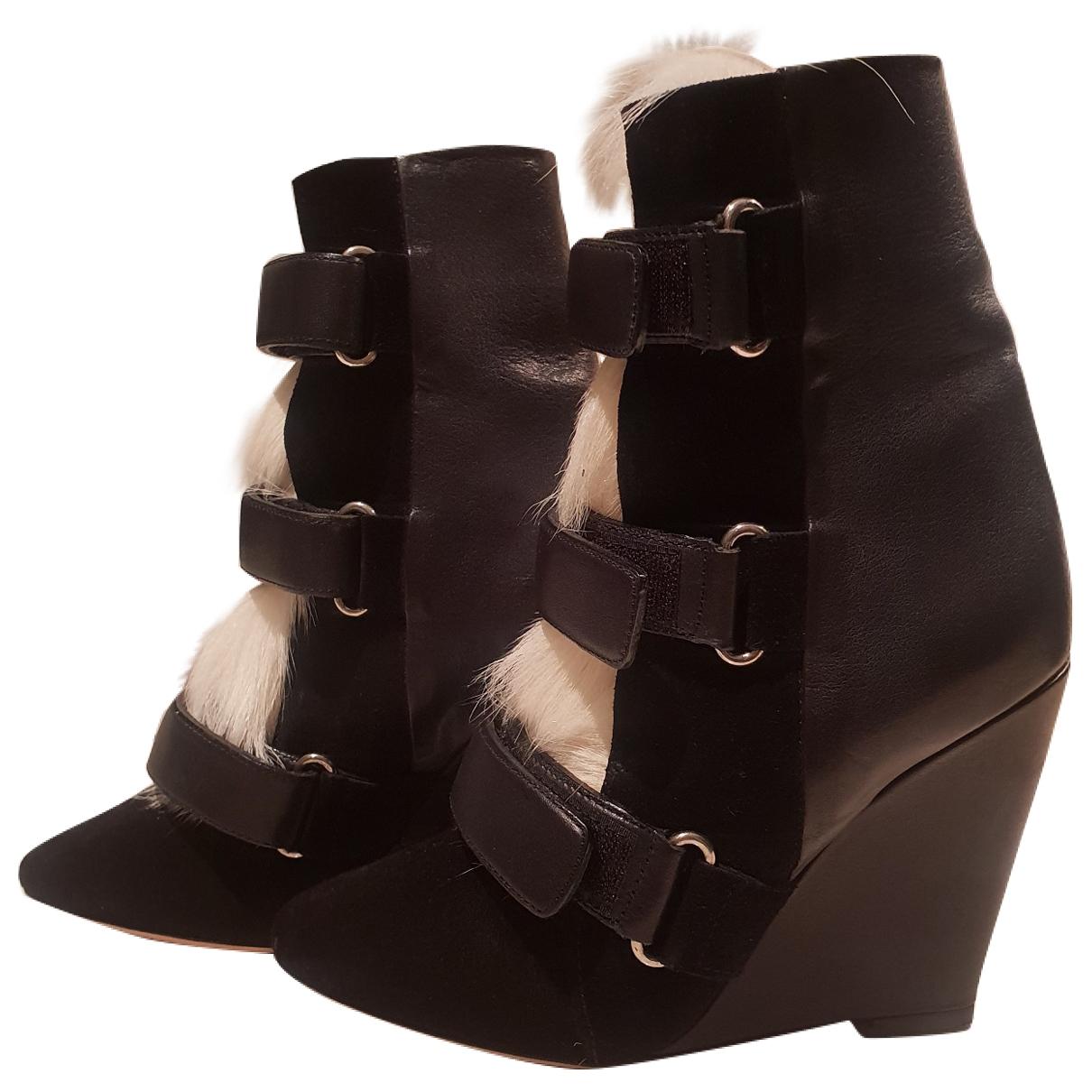 Isabel Marant Purdey Black Fur Ankle boots for Women 37 EU