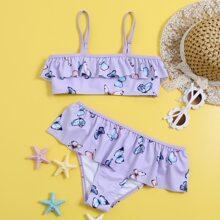Girls Butterfly Print Ruffle Hem Bikini Swimsuit