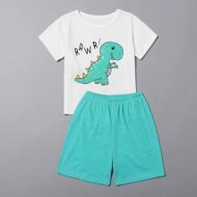 Toddler Boys Cartoon Dinosaur & Letter Graphic PJ Set