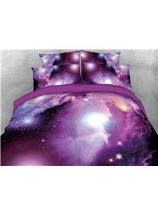 Starry 3D Purple Galaxy 4PCS Colorfast/Wear-resistant Bedding Sets Digital Print Quilt Cover with Sheet and 2 Pillowcases