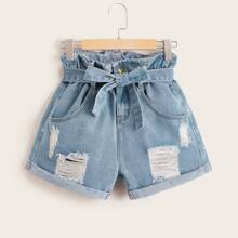 Paperbag Belted Ripped Denim Shorts