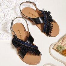 Kleinkind Maedchen Sandalen mit Fransen Dekor