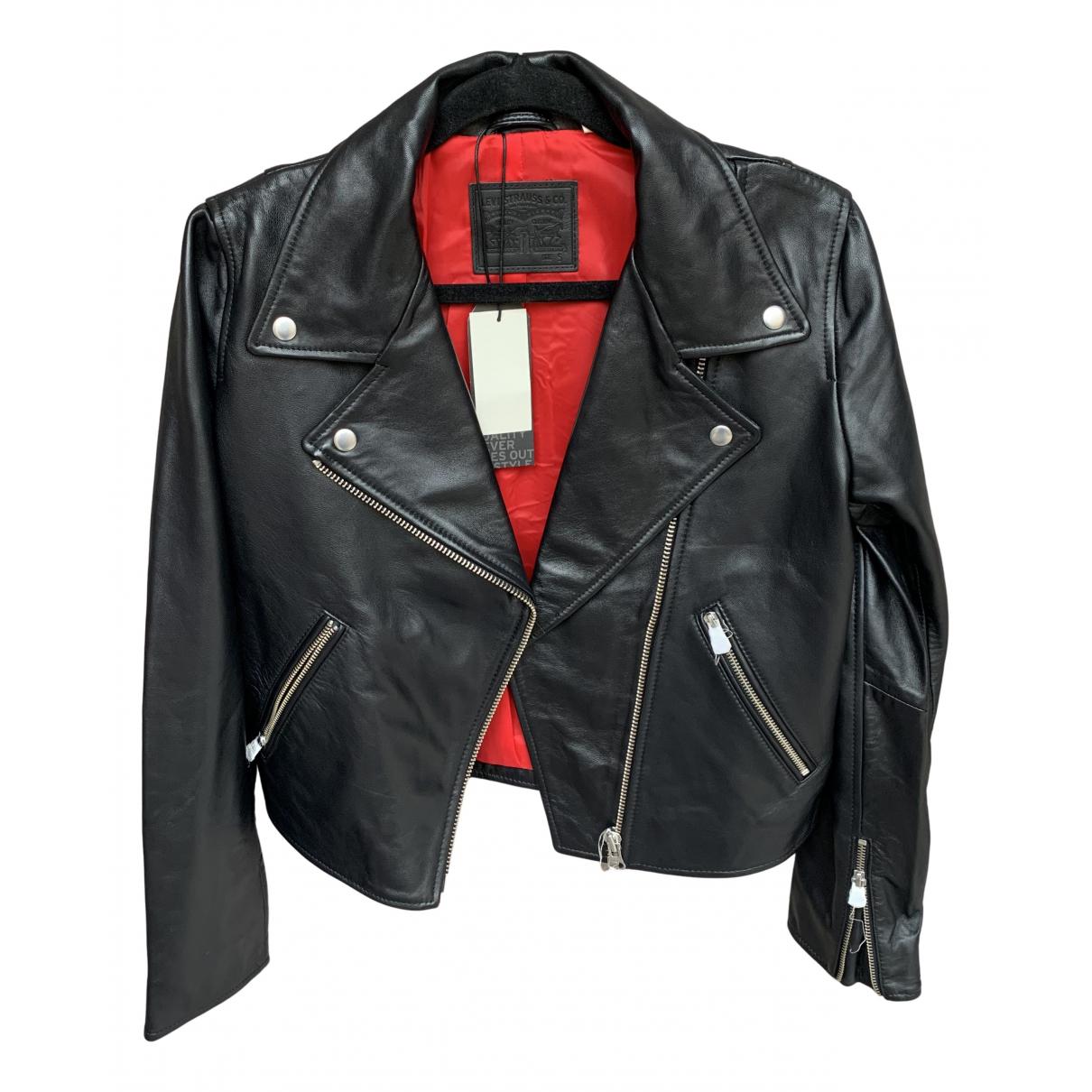 Levis N Black Leather Leather jacket for Women S International