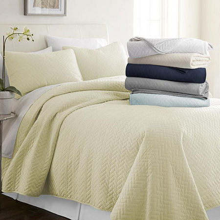 Casual Comfort Premium Ultra Soft Herring Pattern Quilted Coverlet Set, One Size , Yellow