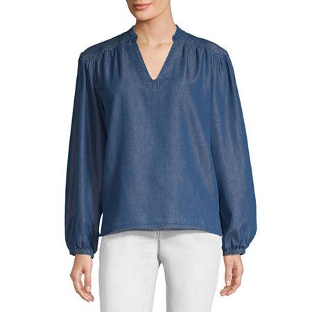 a.n.a Womens Long Sleeve Blouse, X-large , Blue