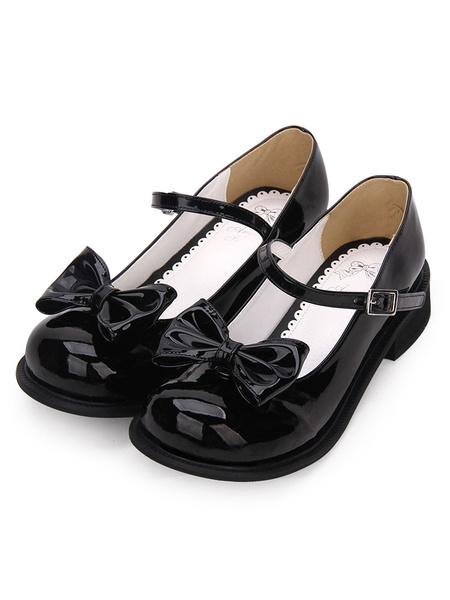 Milanoo Sweet Lolita Footwear Bow Round Toe White Lolita Mary Jane Shoes