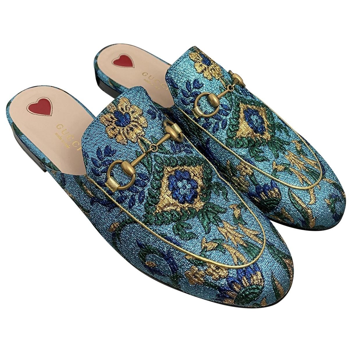 Gucci - Mocassins Princetown pour femme en toile - bleu