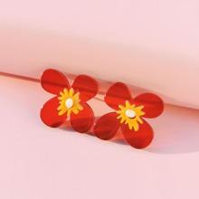 Toddler Girls Flower Decor Stud Earrings