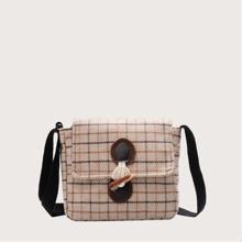 Plaid Toggle Button Crossbody Bag