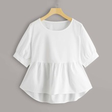 Plus High Low Solid Babydoll Blouse