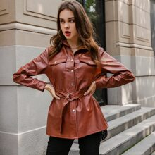 Button Front Patch Pocket Belted PU Leather Coat