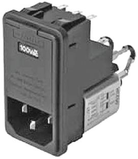 Schaffner Male IEC/EN 60939 IEC Filter Snap-In 6.3 x 32mm,Solder,Rated At 2A,250 V ac Operating Frequency 0 → 400Hz