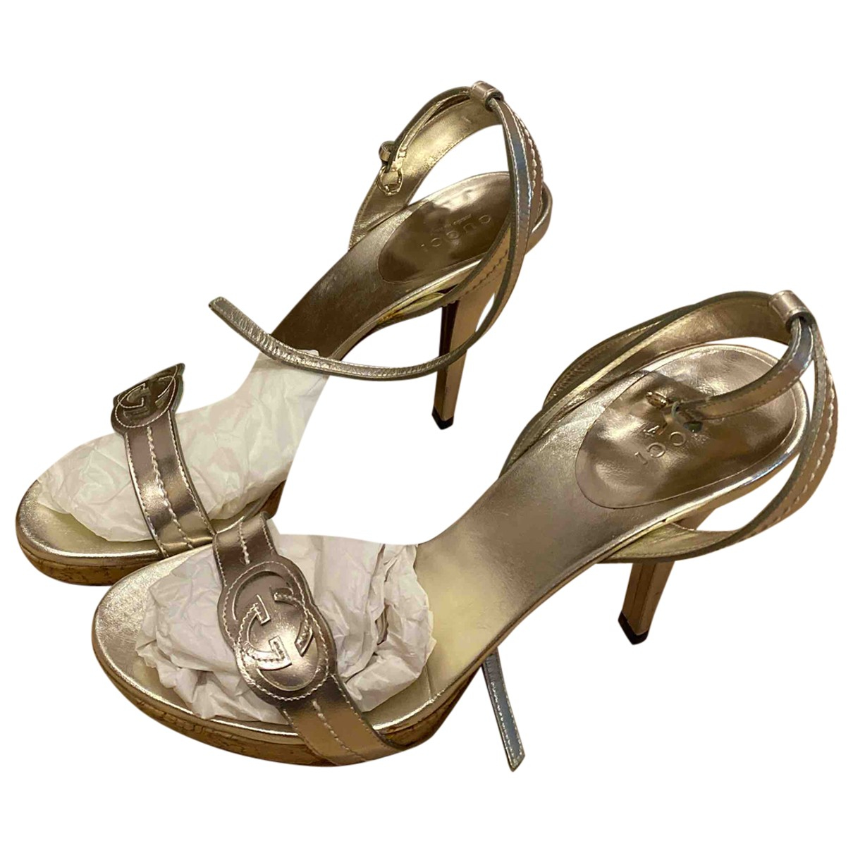 Gucci N Silver Leather Sandals for Women 38 EU