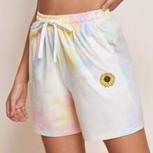 Shorts de tie dye con estampado de girasol de cintura con cordon
