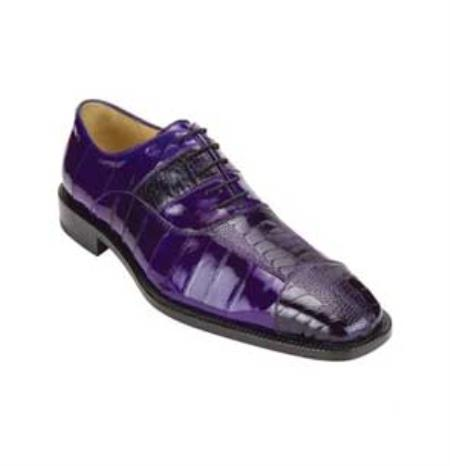 Ostrich / Eel Exotic Dress Shoes with Padded Insole in Purple