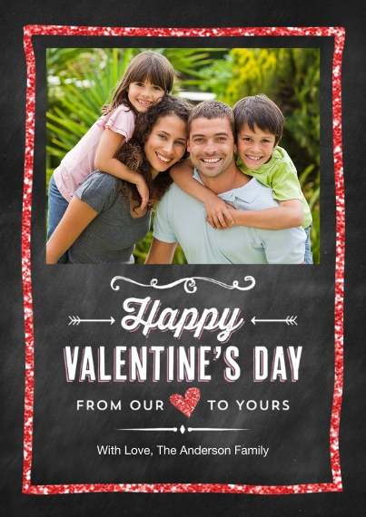 Valentine's Cards 5x7 Cards, Premium Cardstock 120lb with Rounded Corners, Card & Stationery -Valentine Glitter Frame