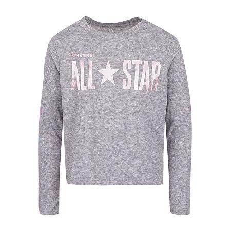 Converse Big Girls Crew Neck Long Sleeve Graphic T-Shirt, Small , Gray