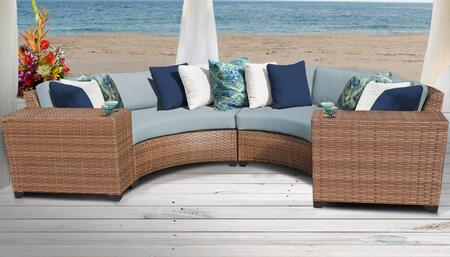 Laguna Collection LAGUNA-04c-SPA 4-Piece Wicker Patio Set with 2 Cup Tables and 2 Curved Armless Chairs - Wheat and Spa