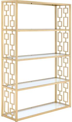 Blanrio Collection 92465 48 Bookshelf with 5 5mm Clear Tempered Glass Shelves  Open Back Panel  Geometric Side Panels and Metal Frame Construction